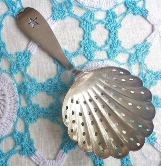 Reed & Barton Fancy Sifter Spoon Scallop Shape Silverplate Open Star Handle photo