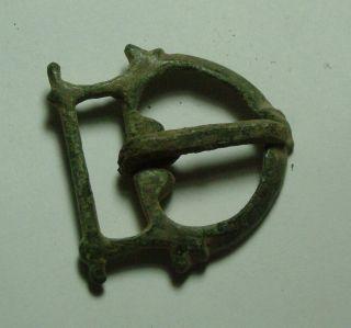 Ancient Rare Roman Byzantine Bronze Belt Buckle Artifact Decorated photo