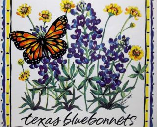 Vintage Art Tile Trivet Texas Bluebonnets Monarch Butterfly 6