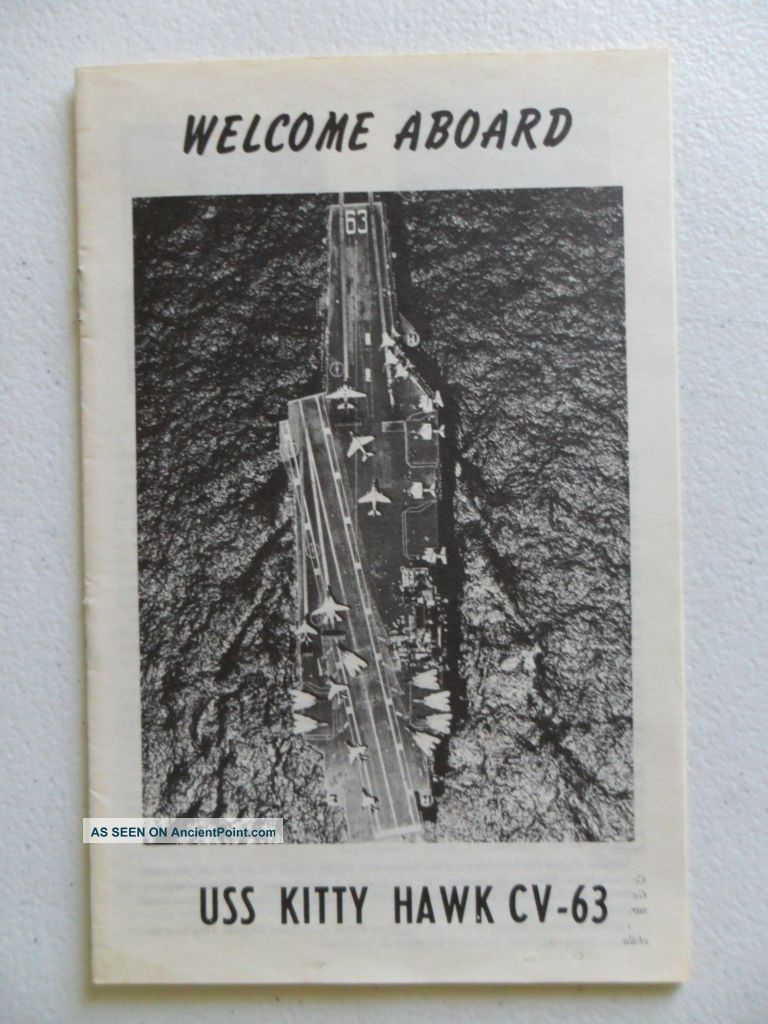 Naval / Navy Uss Kitty Hawk (cv - 63) Welcome Aboard C1984 Other Maritime Antiques photo