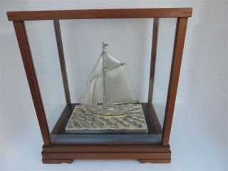 Fine Vintage H - Crafted Japanese Solid Sterling Silver Sail Boat Yacht Ship Japan photo
