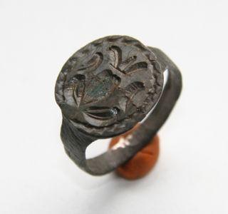 Ancient Bronze Finger Pseudo - Heraldry Seal Ring (spt01) photo