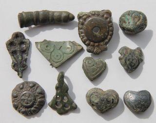 British Found Anglo Saxon Period Bronze Decorated Ornaments 700 - 900 Ad F, photo