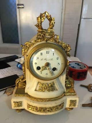 C1850 Le Roy Et Fils Paris,  Fire Gild Porcelain Dial Strike The Bell Mantle Clock photo