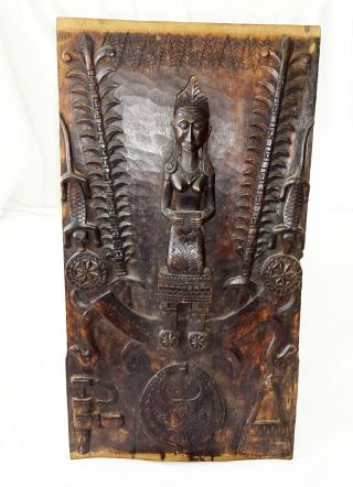 Indonesian Nias Island Tribal Carved Panel Female Ancestral Figure (eic) photo