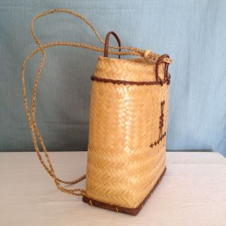 Vintage Filipino Ifugao Tribal Woven Rattan Pasiking Backpack / Bag Philippines photo