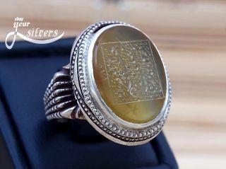 Shia Islamic Ring 925 Sterling Silver Real Yemeni Aqeeq Hand Engraved 3 photo