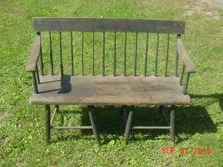 Antique 1800 ' S Pa Dutch Plank Seat Spindle Back Bench Rustic photo