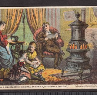 Antique Stove Charter Oak Headlight Base Burner Oneida Il Advertising Trade Card photo