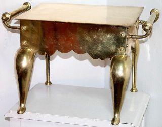 Large Primitave Victorian Brass Footman.  Fireplace Trivet Plate Or Foot Warmer. photo