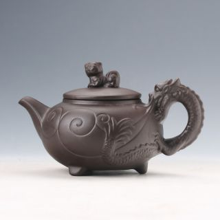 Yixing Sand - Fired Handwork Dragon Shaped Handle Teapot W Lion Lid Teapot D965 photo
