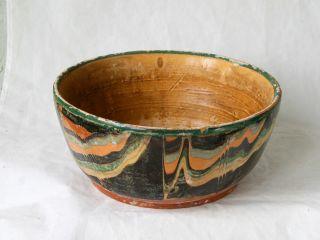 Antique 19`c Ottoman Handmade Redware Glased Pottery Large Ceramic Dish Bowl 14 photo