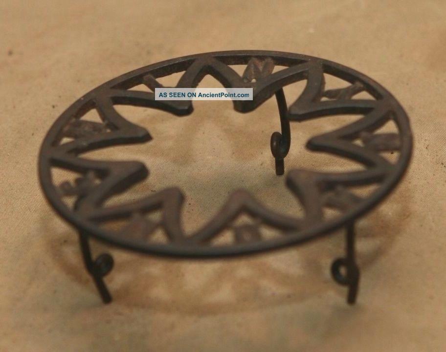 Primitive Antique Cast Iron Advertising Metal Trivet Signed Hough Ny Ny Trivets photo