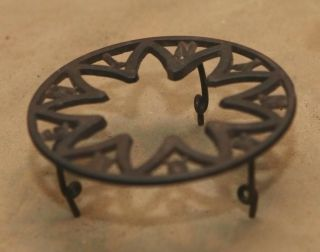 Primitive Antique Cast Iron Advertising Metal Trivet Signed Hough Ny Ny photo