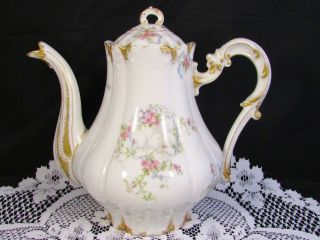 Limoges Cfh Gdm Rose Blue Ribbons Sponged Gold Teapot Coffee Pot photo