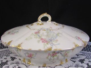Limoges Cfh Gdm Pink Roses Blue Ribbons Covered Serving Dish photo