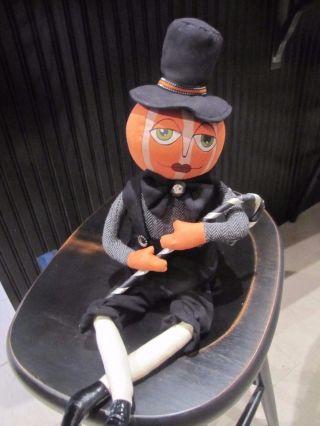 Primitive Folk Art Halloween Pumpkin Doll With Hat & Cane photo