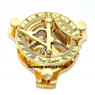 Handmade Triangle Shinny Gold Brass Sundial Compass Brass Triangle Sundial photo