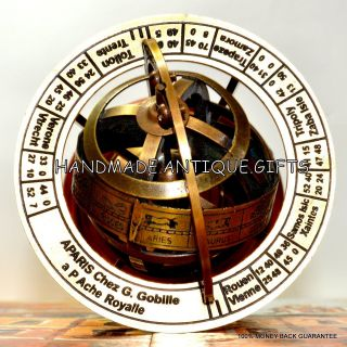 Engraved Brass Tabletop Armillary Nautical Sphere Globe Nautical Brass Sphere photo