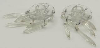Pair 2 Matching Antique Glass Candle Insert Holders W Dangling Crystals photo
