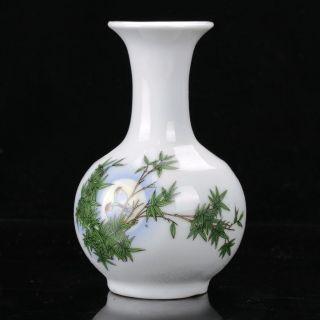 Hand - Painted Colorful Porcelain Tree & Brid Vase W Qianlong Mark B915 photo