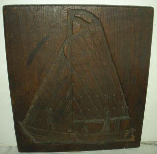 Antique 1700s –1800s Folk Art Carved Wood Mold Fisherman Ship Catching Fish Vafo photo