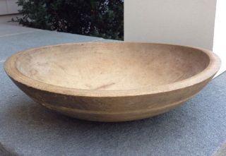Large Antique Lathe Turned Dough Bread Bowl C Late 1800's photo