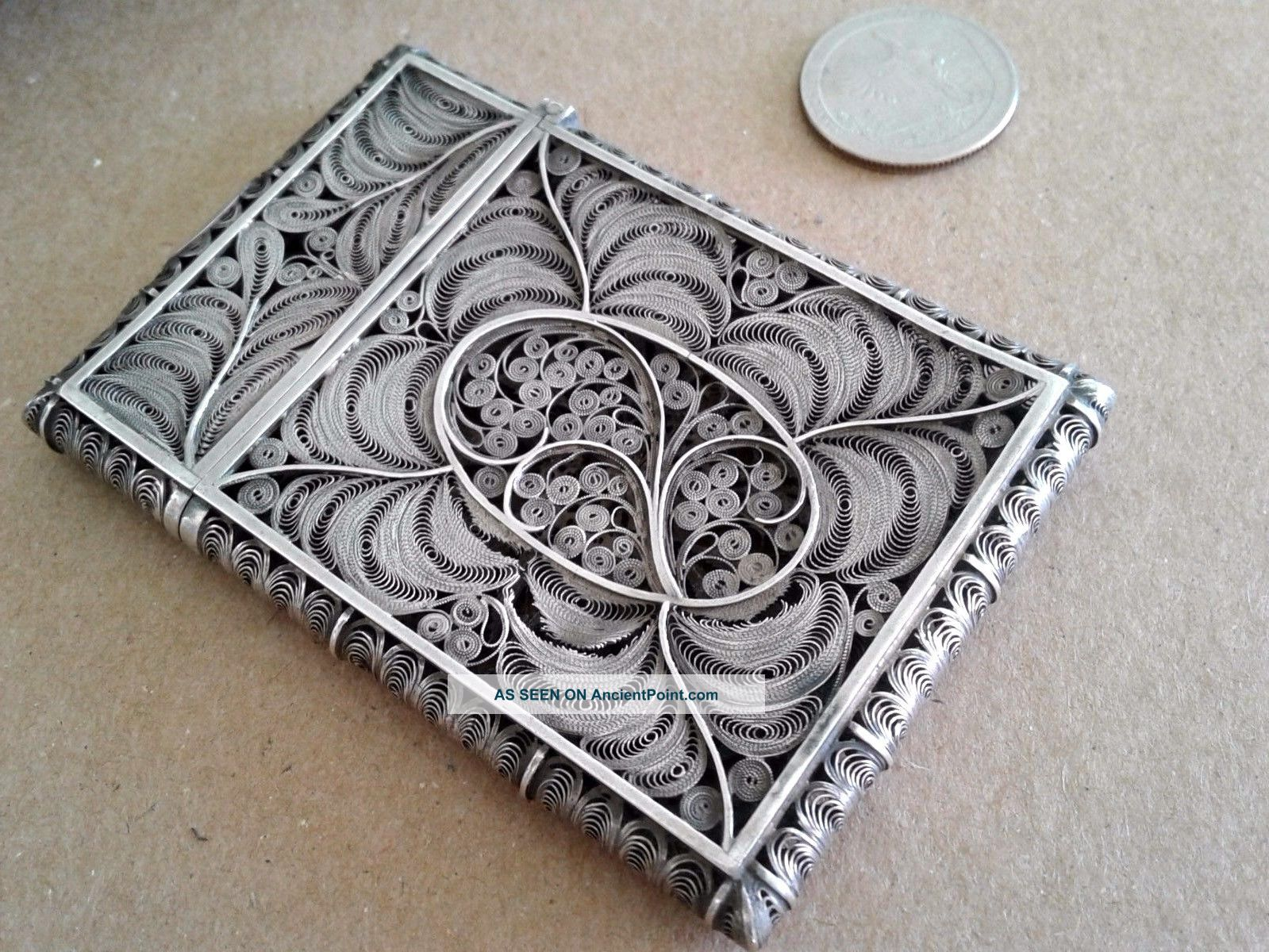 Exceptional Antique Silver Filigree Calling Card Case 1850s Boxes photo