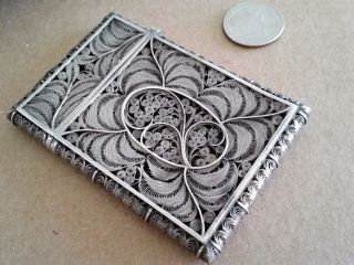 Exceptional Antique Silver Filigree Calling Card Case 1850s photo