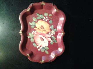 Vintage Small Toleware Metal Tray Yellow Pink Flowers Handpainted Shabby Chic photo