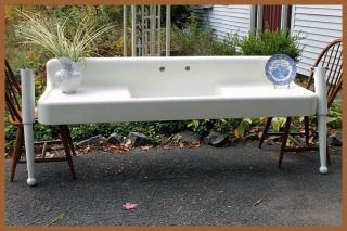 Large Dual Drainboard 1930 Antique Farmhouse Vintage Farm Sink W/legs (6.  5feet) photo