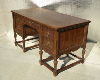 Vintage Spanish Style Ornate Carved Wood Writing Desk Finished Back photo