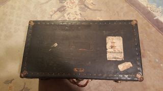 Vintage Steamer Trunk Dated May 1948 photo