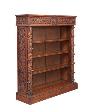 19th Century Carved Oak Victorian Open Bookcase photo