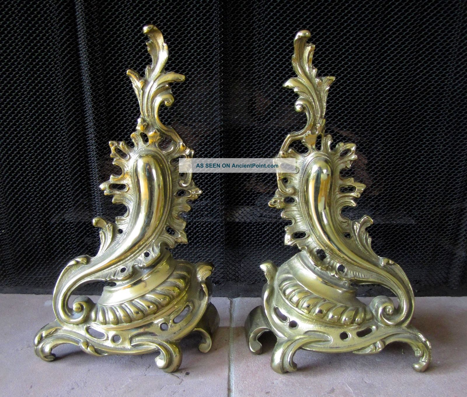 Vintage Brass Rococo Fleur De Lis Andirons Chants Fireplace Firedogs French Hearth Ware photo