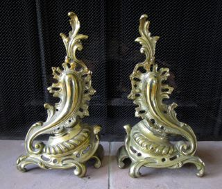 Vintage Brass Rococo Fleur De Lis Andirons Chants Fireplace Firedogs French photo