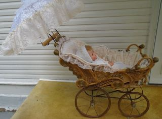 Vintage Wicker Large Doll Carriage 1930 ' S Good Condtion photo