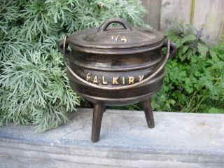 Antique Falkirk Cast Iron Cauldron With Lid Garden Planter Herbs Bulbs (1021) photo
