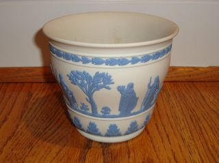 Vintage Wedgwood Blue On White Reverse Jasperware 5