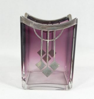 Antique Moser Amethyst Crystal Galss Silver Overlay Small Vase Art Nouveau photo