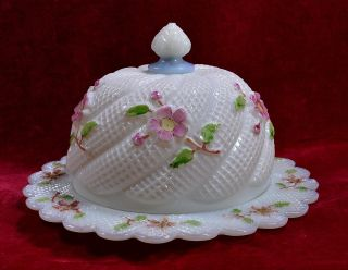 Antique Northwood White Opaline Glass Apple Blossom Covered Butter/cheese Dish photo