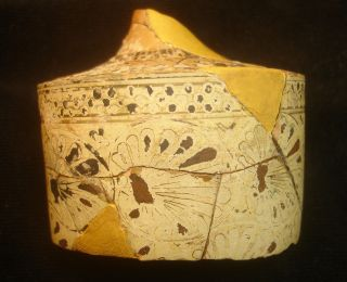 Rare Authentic Ancient Attic Lekythos Large Fragment Reed Painter Ca.  5th Cent.  Bc photo