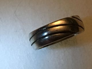 Vintage Sterling Silver Ring W/ Wavy Line Design 925 - See Pix For Size & G photo