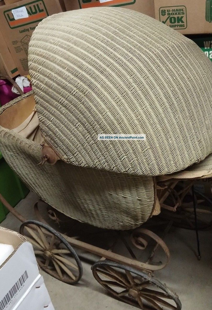 Vintage Antique Wicker Large Baby Buggy Carriage 1910 Needs Work 52 By 46 Inches Baby Carriages & Buggies photo