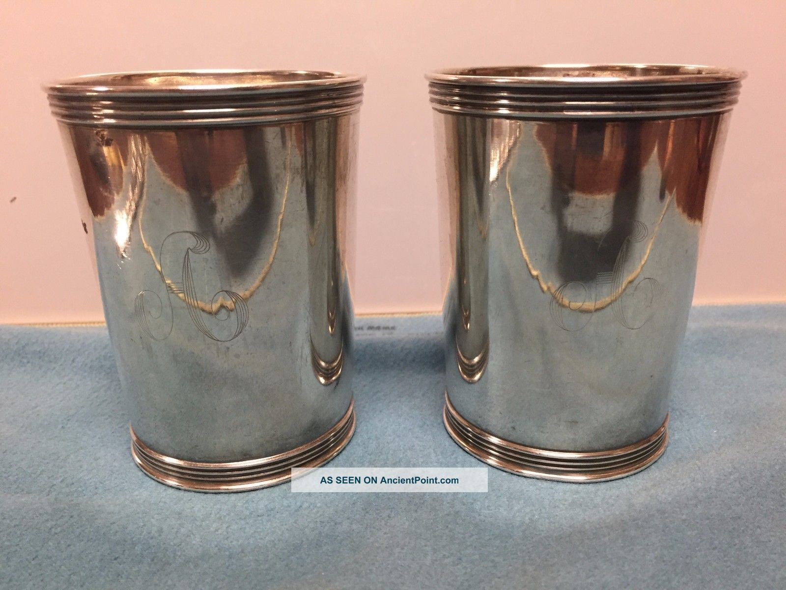 Two Vintage Antique Sterling Silver Kentucky Benjamin Trees Julep Cup 8.  4 Toz Cups & Goblets photo