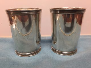 Two Vintage Antique Sterling Silver Kentucky Benjamin Trees Julep Cup 8.  4 Toz photo