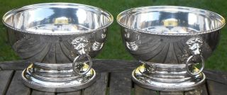 Pair Vintage Hand Engraved Lion Mask Bowls - Silver Plated On Copper photo