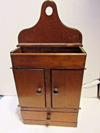 Antique Primitive Hanging Jewelry ? Box Spice Cabinet ? Wood photo