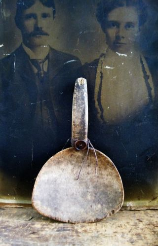 Early Antique Wood Gooseneck Butter Paddle Surface photo