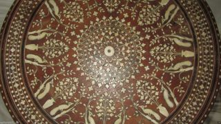 Antique Anglo Indian Hashiarpur Shisham Wood Inlay Occasional Table photo